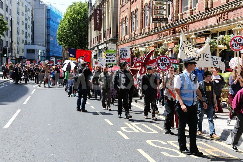 Bristol anti austerity march demonstration support services improvement
